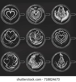 Set of Latte Art on chalkboard background. White Cups. Vector illustration