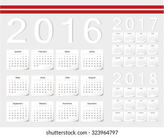 Set of Latvian 2016, 2017, 2018 vector calendars with shadow angles. Week starts from Sunday.