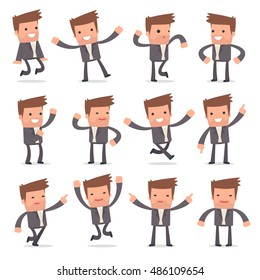 Set of Laughing and Joyful Character Competitor in celebrates and jumps poses for using in presentations, etc.