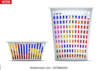 Set of Laundry Laundry Basket with dirty apparel. Ready to wash with washing machine. Vector Illustration isolated on white background.