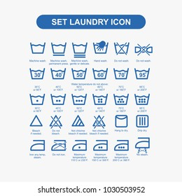 Set laundry icon blue vector illustration.