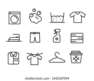 Set of laundry related vector illustration with simple line design suitable for icon or doodle