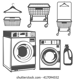 Set of laundry room,laundry,laundromat for emblems and design.