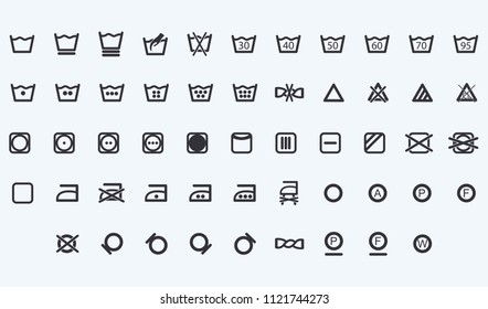 Set of Laundry symbols vector web icons isolated on white background, top view