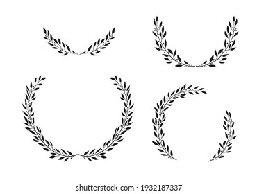 Set of laurel black wreaths. Leaves and branches in the semicircular form. Hand drawn vector illustration for design.