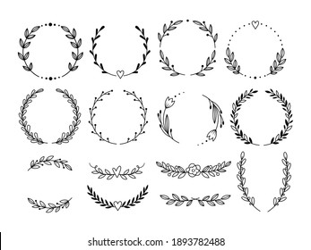 Set of laurel wreath. Collection of floral frame with leaves. Design for wedding invitation. Decorative natural elements. Vector illustration of laurel branches on white background.
