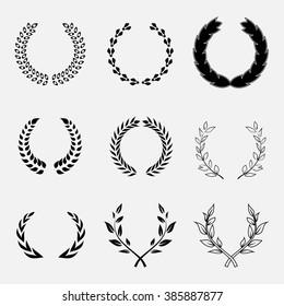 Set of laurel wreath, heraldic design, black icon