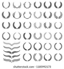 Set of laurel wreath icons. Design element for logo, label, emblem, sign. Vector illustration