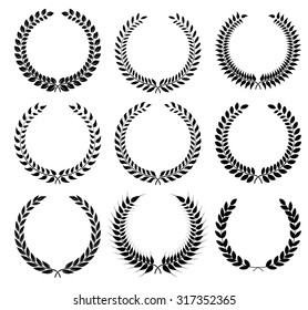 Set laurel wreath - symbol of victory and achievement. Design element for construction of medals, awards, coat of arms or anniversary logo. Black silhouette on white background. Laurel wreath icon