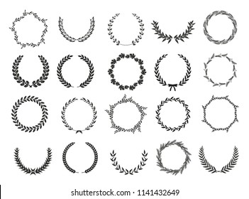 Set of laurel wreaths. Heraldic round element.Collection of different silhouette circular laurel,oak, fig,olive wreaths depicting an award, achievement, heraldry, nobility. Vector illustration.