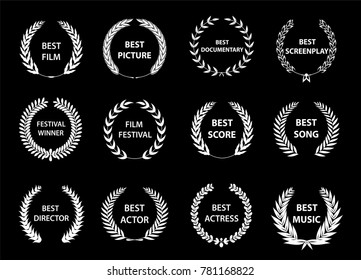 Set of laurel wreaths. Heraldic round element.Collection of different silhouette circular laurel,olive wreaths depicting a cinematography awards. Vector illustration.