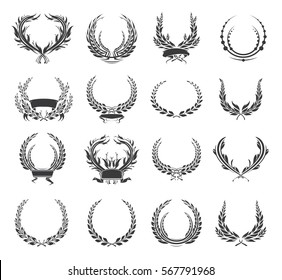 Set of laurel wreaths and ribbons. Collection of award or victory signs. Heraldry emblem. Black color. Vector  illustration.