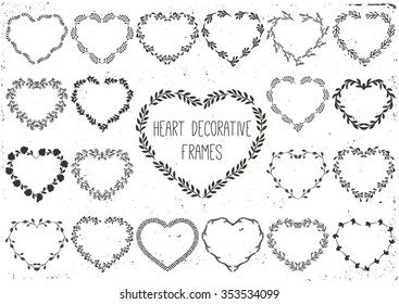 Set of laurels and wreath in shape heart. Hand drawn vector illustration.