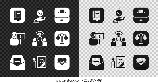 Set Law book, Coins on hand - minimal wage, Vote box, Mail e-mail, Mourning photo frame, Heart rate, Protest and Spy, agent icon. Vector