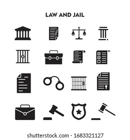 Set Of Law and Jail Icon, Law and Jail Sign/Symbol Silhouette Vector