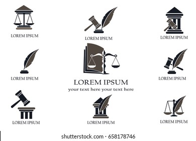 Set of law and justice. Conceptual law and justice. Scales of justice, a hammer, a pen, a courthouse and a book. Vector illustration. Can be used as the legitimacy of the logo.