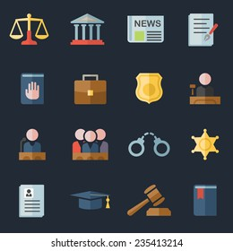 Set of  law and justice flat icons with a judge gavel lawyer mortarboard hat scales court jury sheriffs star law books briefcase scribe and lock for a prison
