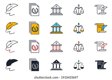 Set of law and justice icon. Court Lawyer pack symbol template for graphic and web design collection logo vector illustration