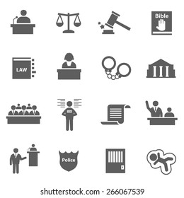 Set of law justice legal lawer judge icons