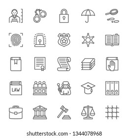 Set of Law and Justice Line Icons. Criminal, Handcuffs, Fingerprint, Police, Constitution, Jury, Judge, Courthouse, Libra and more. Pack of 48x48 Pixel Icons