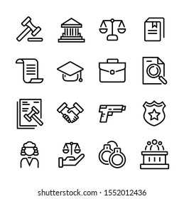 Set of Law and justice line icons vector illustration. Collection icon of legal, arrest, authority, courthouse, gavel, weapon and more.