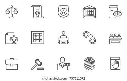 Set of Law and Justice Vector Line Icons.