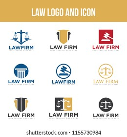 Set law logo and icon design template