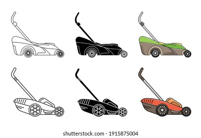 Set of lawnmower icons. Garden icon. Logo. Lineart, simple