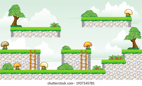 A set of layered vector game asset, contains background,  ground tiles and several items, objects, decorations, used for creating mobile games