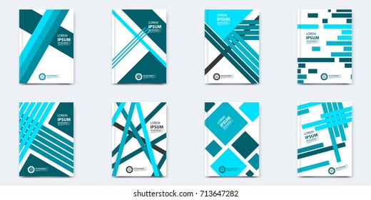 Set of layout cover template. Eight objects with different unique shapes design in blue colors. Can be used for poster, annual report, flayer, card, banner, book, broshure, leaflet, booklet and other.
