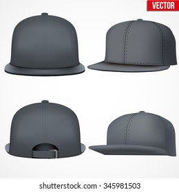 Set of Layout of Male black rap cap. A template simple example. Editable Vector Illustration isolated on white background.