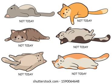 Set of lazy cats. Collection of cute cats lying on their back. Putting aside affairs for tomorrow. Lovely colored cats. Color illustration for children.