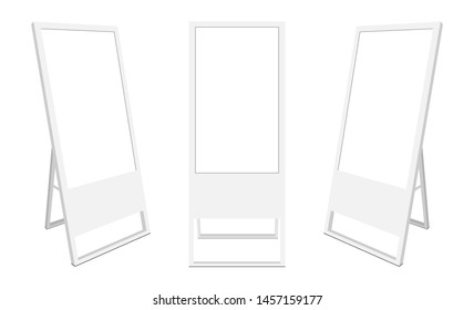 Set of LCD advertising displays, isolated on white background. Vector illustration
