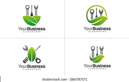 Set of Leaf Mechanic logo vector template, Creative Mechanic logo design concepts