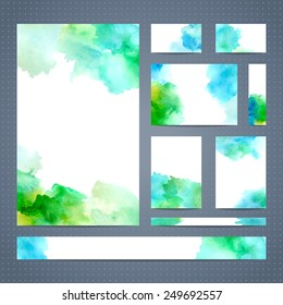Set of leaflet, brochure, banner, cover layout, business card templates. Abstract watercolour design. Vector illustration. There is blank place for your text.