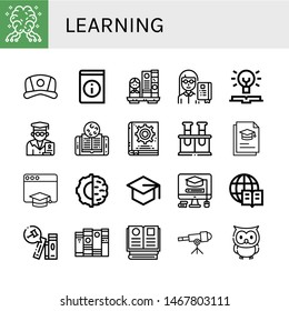 Set of learning icons such as AI, Cap, Book, Bookshelf, Professor, Knowledge, Online learning, Manual book, Chemical, Graduation, Education, Artificial intelligence , learning