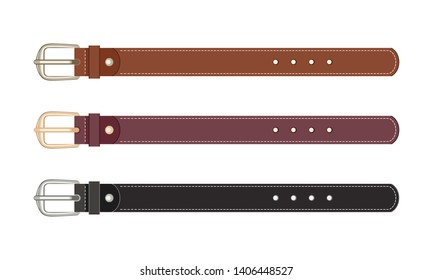 Set of leather belts with buckles isolated on white background. Vector illustration of accessories in cartoon flat style.