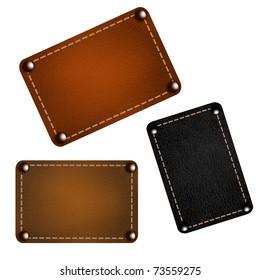 Set of leather labels. Vector eps10 illustration