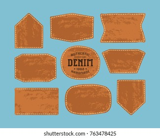 Set of leather patch for denim clothing. Print on blue background