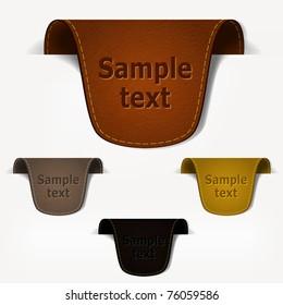 Set of leather tag labels. Vector eps10 illustration