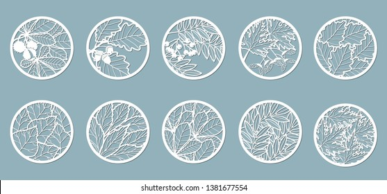 Set. Leaves, Oak, maple, Rowan, chestnut, berries, acorn, seeds, birch, ash. Templates in the form of circles. Abstract circles, balls Vector illustration of a laser cutting Plotter cutting