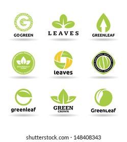 Set of leaves. Set of organic food badges (9).