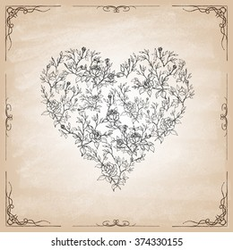 Set of leaves and roses in the form of heart. Hand drawn elements. Vector illustration.