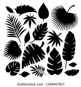 Set of leaves silhouettes isolated on white background