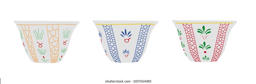 Set of Lebanese, Turkish Traditional Coffee Cups - Vector Illustration Isolated