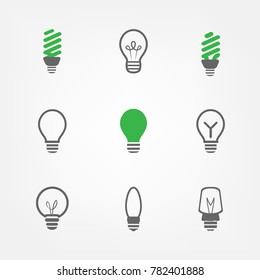 Set of Led lamp and green light icons,can be used for idea icon