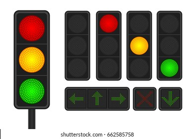 Set of LED traffic lights with arrow traffic lights