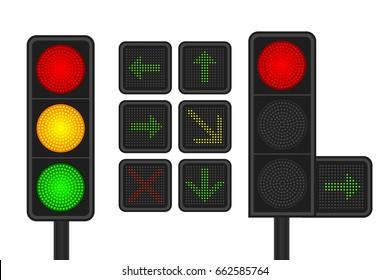 Set of LED traffic lights with arrow traffic lights