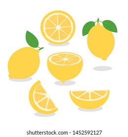 Set of Lemon with green leaves isolated on white background. vector illustration