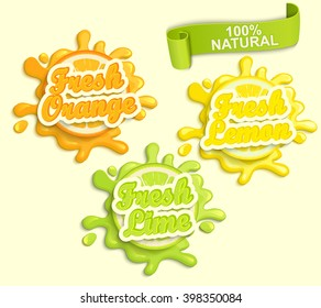 Set of Lemon, orange, lime juece labels splash. Lettering and blot design, shape creative vector illustration.
